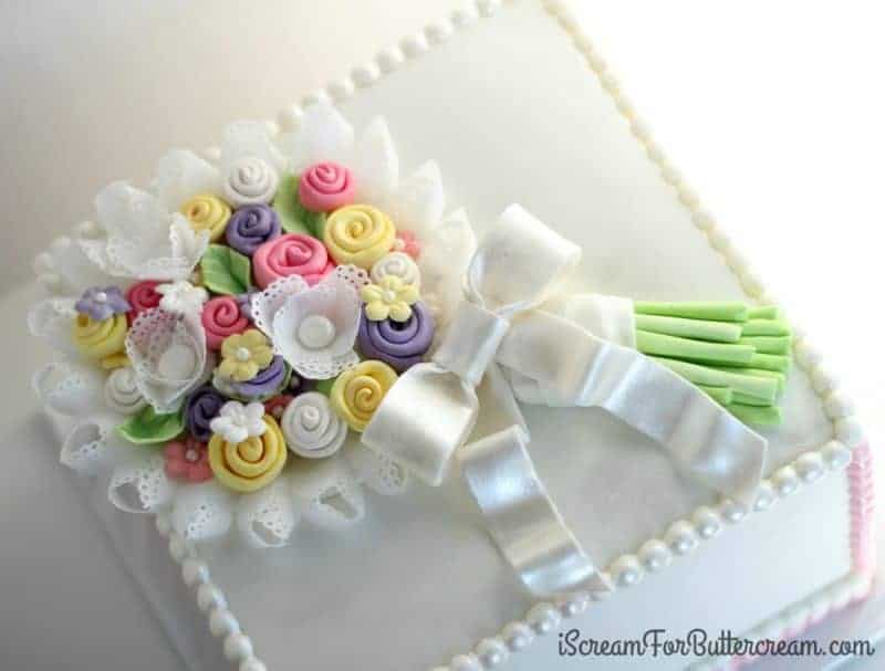 Floral and Eyelet Lace Bouquet Cake