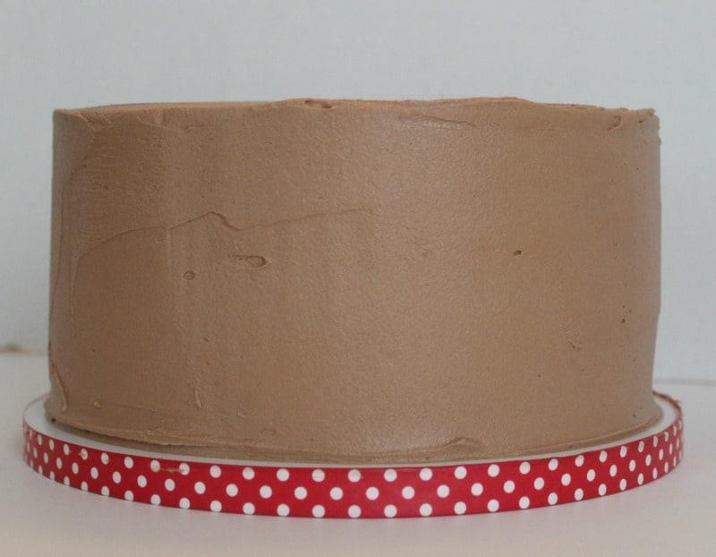 Base icing the sprinkle cake