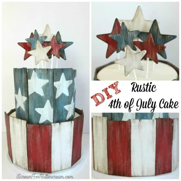 DIY Rustic 4th of July Cake Tutorial