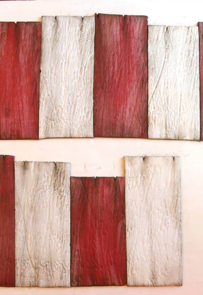 Red and white planks