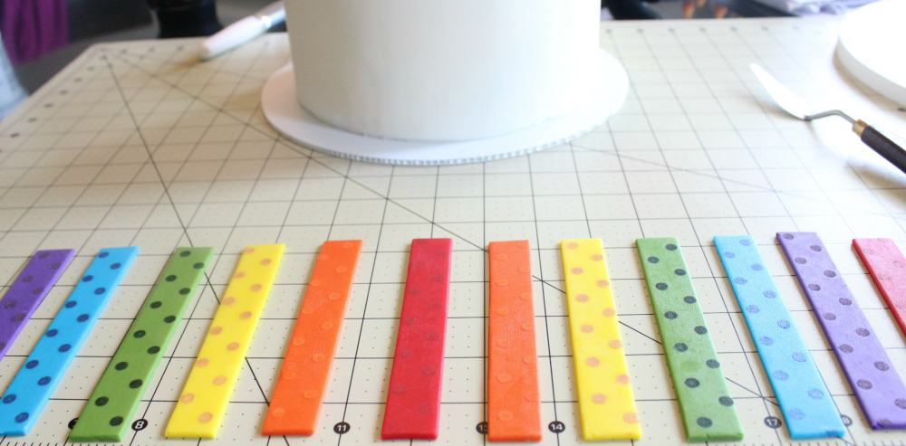 Laying out the fondant strips