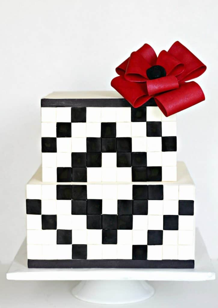 Black and White Geometric Cake