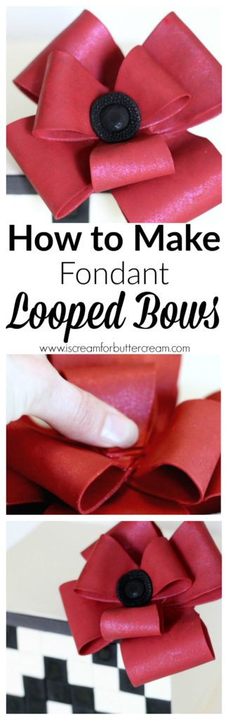 How to Make Fondant Looped Bows Pinterest Graphic