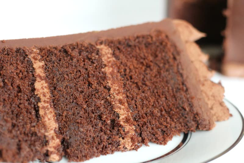Chocolate Butter Cake Slice on white plate close up view
